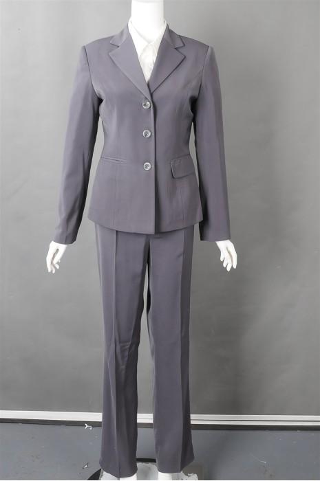 iG-BN-CN-052  设计灰色女西装套装 供应修身女西装 女西装制造商