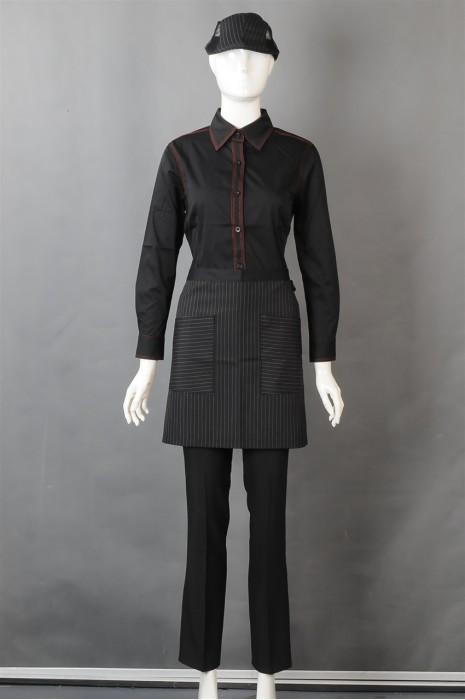 iG-BD-CN-032 设计黑色厨师制服 订购餐饮服务员制服 厨师制服hk中心