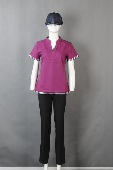 iG-BN-CN-035 订购紫色女款餐饮制服 设计横间纹厨师制服 厨师制服hk中心