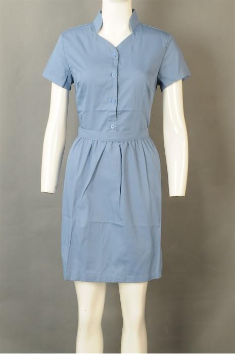 iG-BD-CN-036 设计蓝色服务员连衣裙 供应裙装餐饮制服 餐饮制服专门店