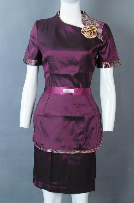 iG-BD-CN-037 设计酒楼服务员制服 制造连身裙餐饮员工制服 餐饮制服制衣厂