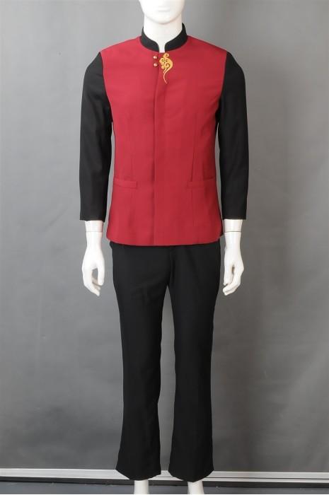iG-BN-CN-039 订购拼色餐饮制服 设计长袖服务员制服 厨师制服制造商