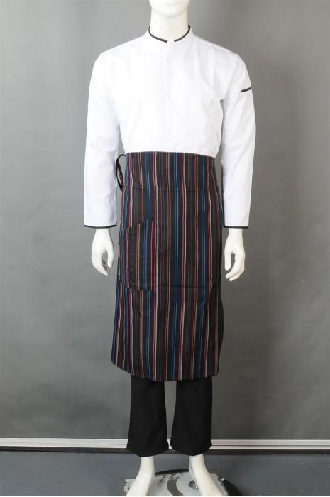 iG-BN-CN-040 订购白色厨师服 设计长款条纹围裙  厨师制服制服公司
