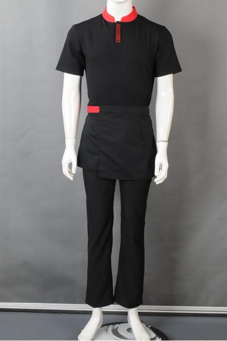 iG-BN-CN-041 订购黑色短袖服务员制服 设计餐饮员工制服 厨师制服供应商