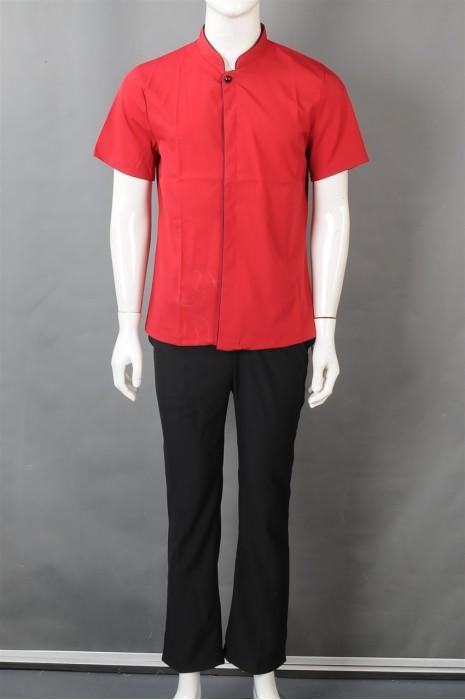 iG-BN-CN-042 设计短袖厨师制服 订购红色餐饮制服 厨师制服制衣厂