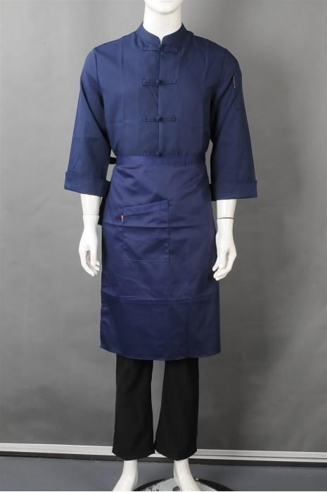 iG-BN-CN-043 制造蓝色长袖厨师制服 订购半身围裙厨师制服 餐饮制服供应商