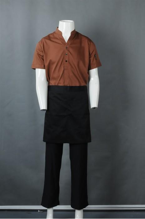 iG-BN-CN-064 制造咖啡色短袖厨师制服 订购半身围裙厨师制服 餐饮制服供应商