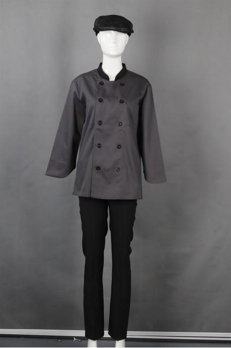 iG-BN-CN-065 制造双排扣厨师制服 订购帽子厨师制服 餐饮制服供应商