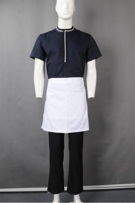 iG-BN-CN-060 制造蓝色短袖厨师制服 订购半身围裙厨师制服 餐饮制服供应商