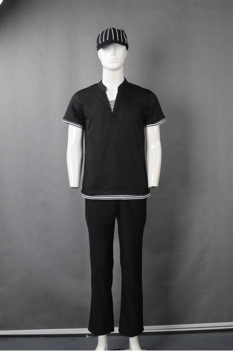 iG-BN-CN-058 制造黑色短袖厨师制服 订购条纹帽子厨师制服 餐饮制服供应商