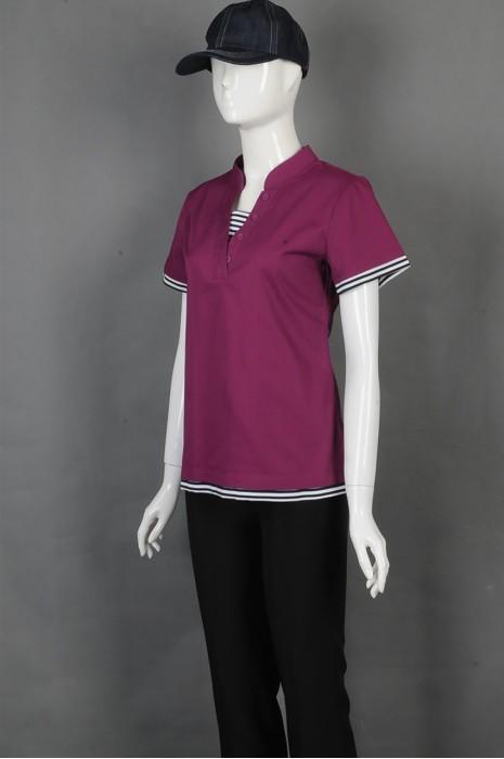 iG-BD-CN-072 订购紫色女款餐饮制服 设计袖子横间纹厨师制服 厨师制服中心