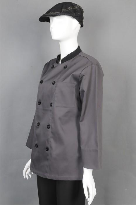 iG-BD-CN-070 制造双排扣厨师制服 订购帽子厨师制服 餐饮制服供应商