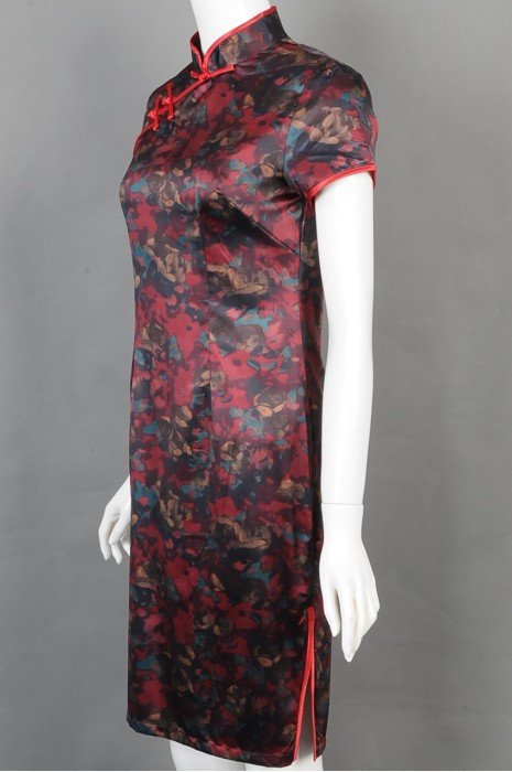 iG-BD-CN-069  订制印花旗袍餐饮制服  设计立领餐饮制服 餐饮制服中心