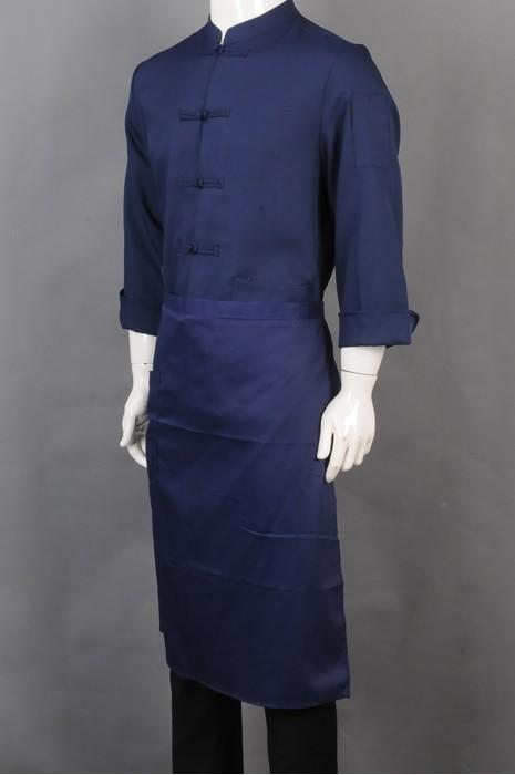 iG-BD-CN-024 制造中国结纽扣蓝色长袖厨师制服 订购半身围裙厨师制服 餐饮制服供应商