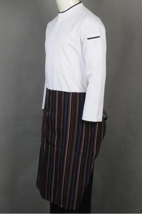 iG-BD-CN-066 订购白色厨师服 设计长款条纹围裙  厨师制服制服公司
