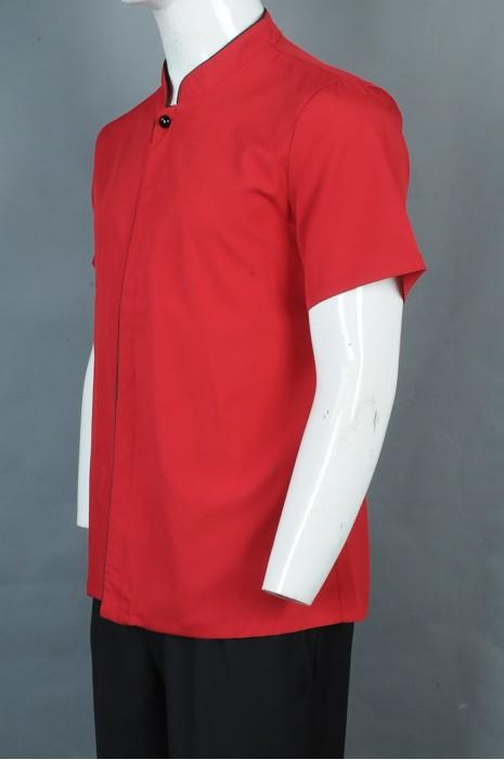 iG-BD-CN-064 设计短袖厨师制服 订购红色餐饮制服 厨师制服制衣厂