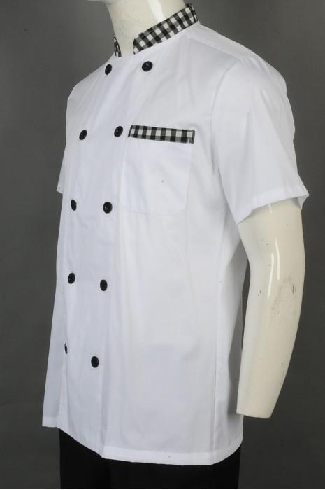 iG-BD-CN-063 订购白色厨师服 设计双排扣厨师服  厨师制服制服公司