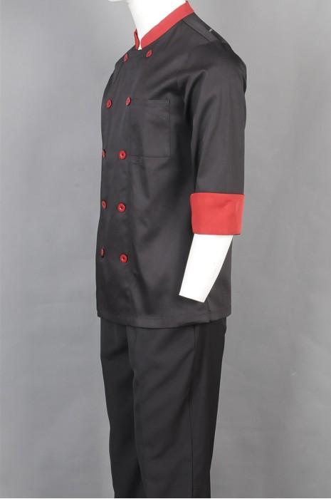iG-BD-CN-061 制造双排扣厨师制服 订购中长袖厨师制服 餐饮制服供应商