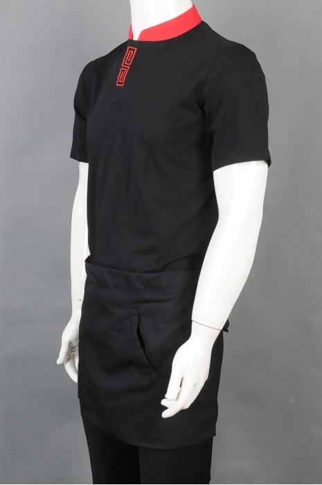 iG-BD-CN-026 订购黑色短袖服务员制服 设计拼接色立领餐饮员工制服 厨师制服供应商