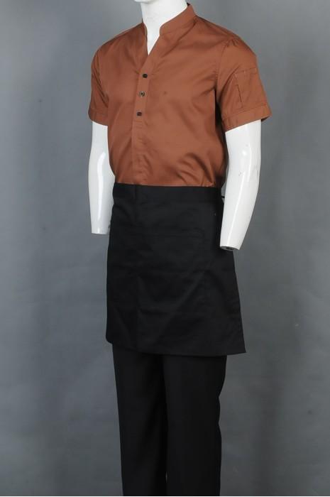iG-BD-CN-058 制造咖啡色短袖厨师制服 订购半身围裙厨师制服 餐饮制服供应商