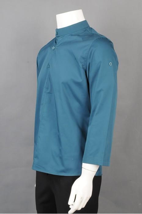 iG-BD-CN-027 供应绿色厨师制服 订制立领纽扣餐饮厨师制服 厨师制服制造商