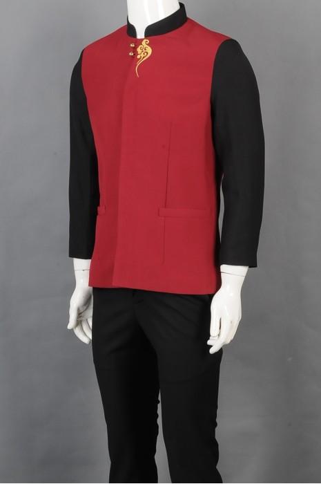 iG-BD-CN-028 订购拼色餐饮制服 设计绣花长袖服务员制服 厨师制服制造商