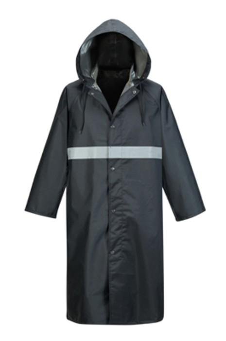 SKRT018 製造過膝連帽雨褸 鈕扣 訂製反光條雨褸 雨褸中心