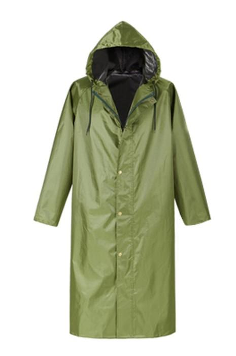 SKRT019 製造防暴雨過膝雨褸 連帽 設計軍綠色拉鏈雨褸 雨褸生產商