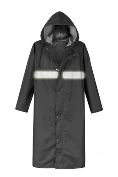 SKRT020 網上訂購直筒袖口雨褸 防暴雨 抽繩連帽 拉鏈過膝雨褸 設計反光條雨褸 雨褸供應商