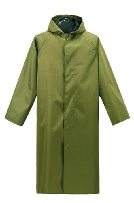 SKRT021 網上訂購鈕扣防暴雨 雨褸過膝 訂製連帽雨褸 雨褸供應商 軍綠色