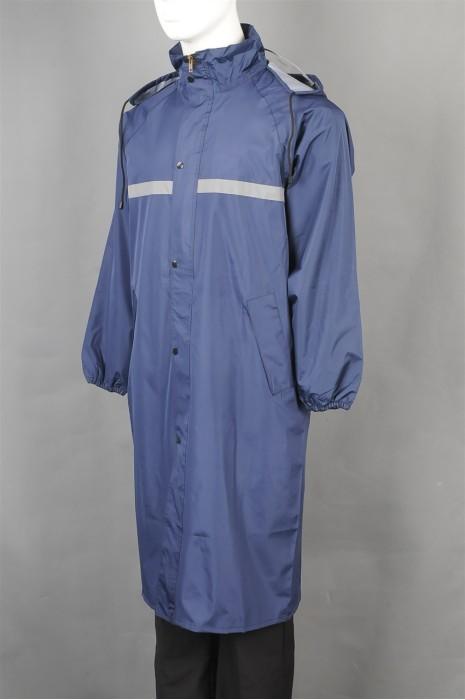 SKRT038   網上訂購現貨雨褸  批量訂做雨褸安全反光長款雨衣  設計鈕扣拉鏈雨褸  雨褸製服公司   磁吸雨衣