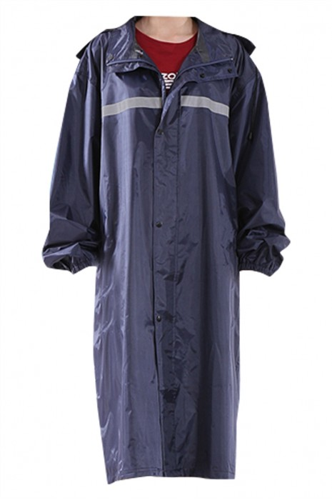 SKRT041 大量訂製連體全身雨衣 設計單條反光條 連帽雨衣 雨衣供應商