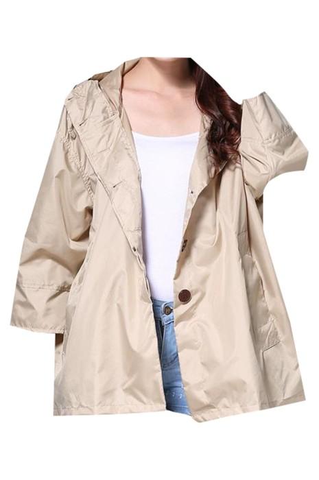 SKRT044 大量訂製連帽雨衣外套 時尚設計抽繩連帽 紐扣 短款風衣雨衣 雨衣中心  風衣式雨衣