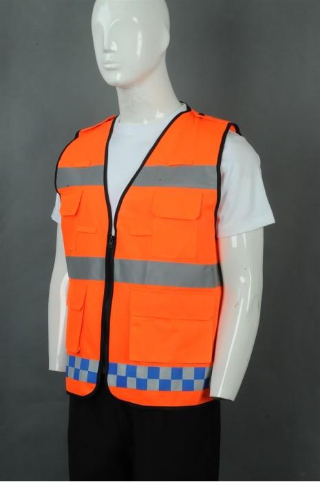 iG-BD-CN-075 来样订制橙色V领拉链外套工业制服 订制反光条多口袋工业制服 工业制服中心