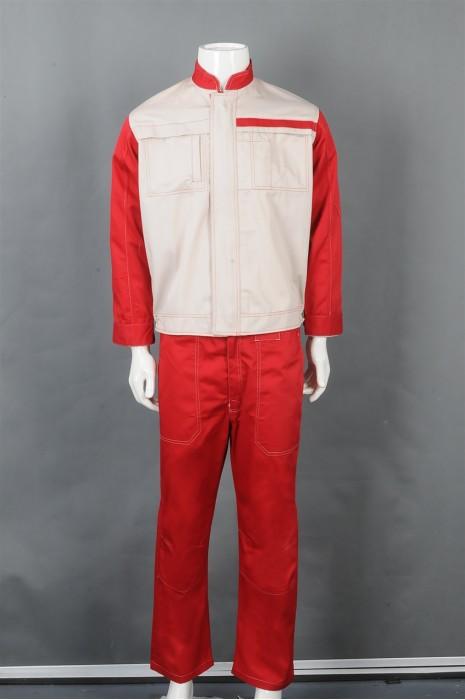 iG-BD-CN-085 个性化设计拼接色套装安全工业制服 设计后背单条反光带工业制服 工业制服供应商