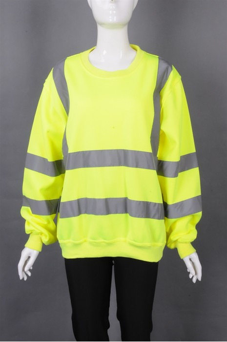 iG-BD-CN-086 制造荧光黄圆领长袖卫衣安全工业制服 设计前后反光条工业制服 工业制度供应商