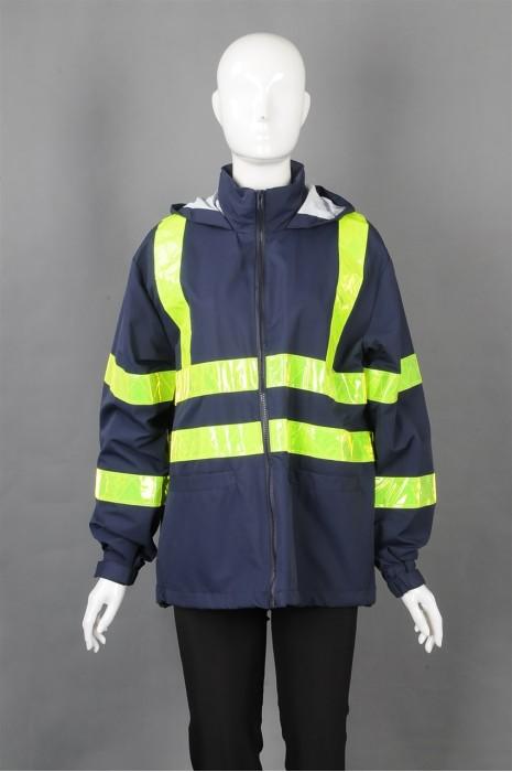 iG-BD-CN-087 订制深蓝连帽安全工业外套工业制服 设计束袖反光条工业制服  工业制服制衣厂