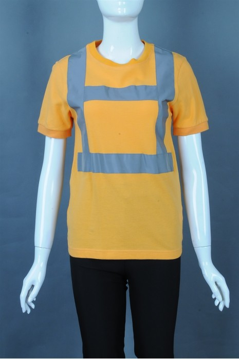 iG-BD-CN-088  制造黄色短袖T恤工业制服 订制反光条安全工业制服 工业制服生产商