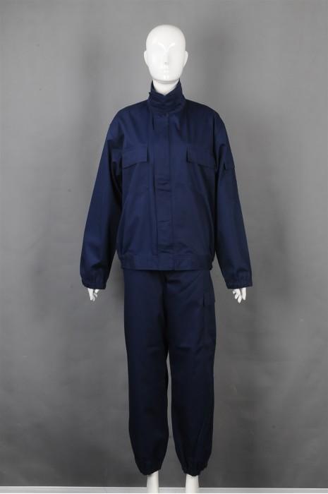 iG-BD-CN-097 订制蓝色长袖套装工业制服 设计橡筋束袖口 橡筋束脚工业制服 工业制服供应商