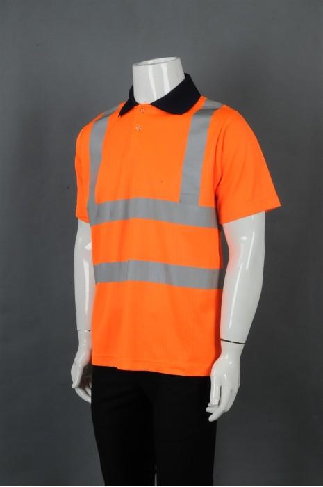 iG-BD-CN-099 制造橙色撞黑色领POLO恤工业制服 设计反光条工业制服 工业制服供应商