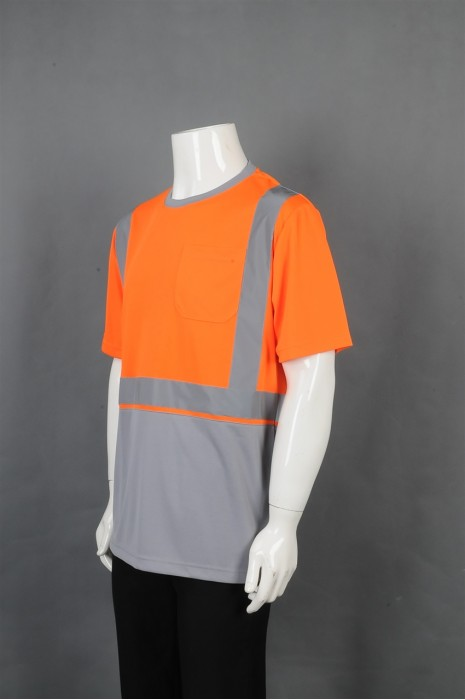 iG-BD-CN-107 制造圆领短袖工业制服 设计拼接色 反光条工业制服 工业制服中心