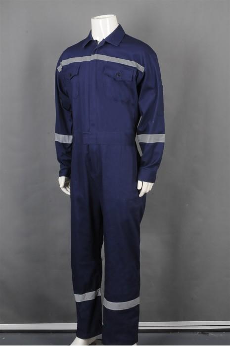 iG-BD-CN-110 网上下单订购长袖蓝色连体工业制服 订制反光条工业制服 工业制服中心