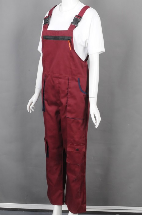 iG-BD-CN-006 制造女装红色背带工业制服  设计多袋工业制服 工业制服供应商