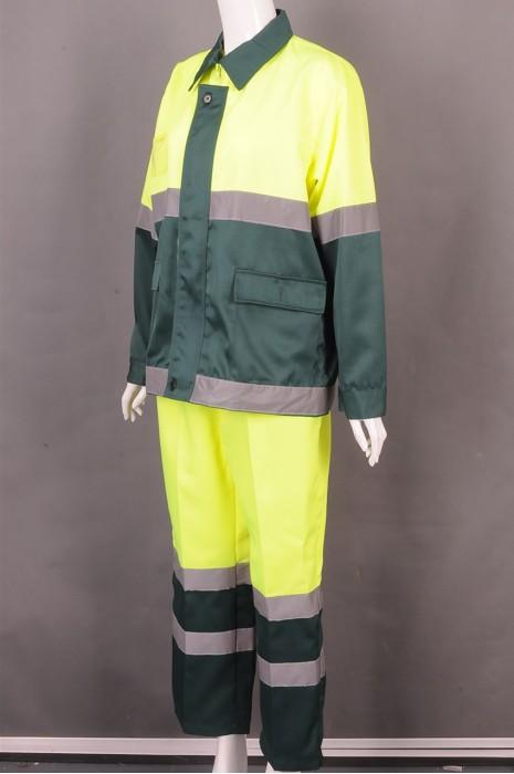iG-BD-CN-010 制造拼接色长袖套装工业制服 个性化翻领反光带工业制服 工业制服专营