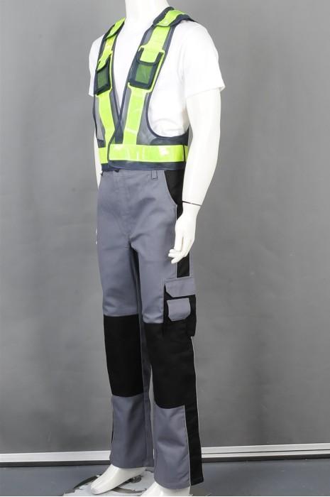 iG-BD-CN-030 订做反光带背心外套工业制服 设计阔脚拼接色长裤工业制服 工业制服制衣厂