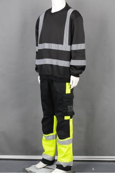 iG-BD-CN-032 网上下单黑色圆领卫衣工业制服 制造反光条工业制服 工业制服供应商