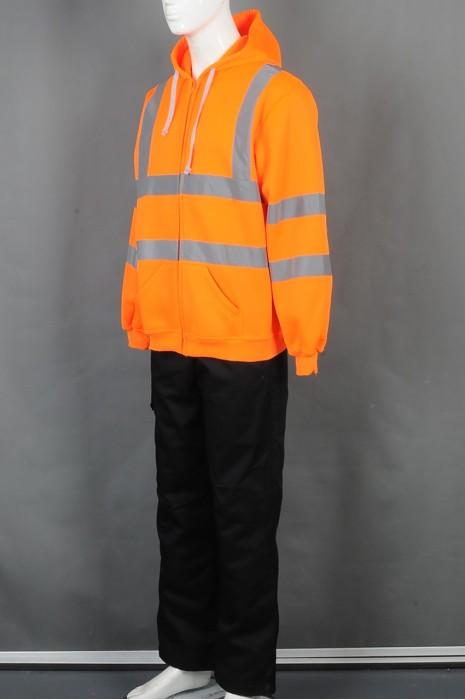 iG-BD-CN-033 网上下单橙色卫衣外套工业制服 设计连帽反光带工业制服 工业制服专门店