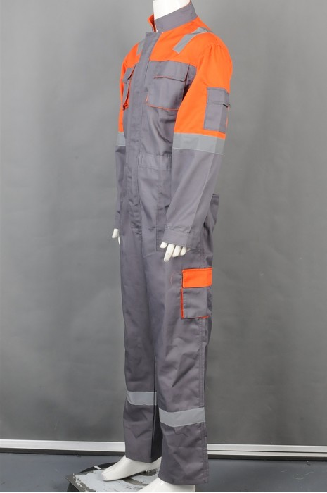 iG-BD-CN-034 订做长袖连体工业制服 工厂 车间 设计后背收腰工业制服 工业制服供应商