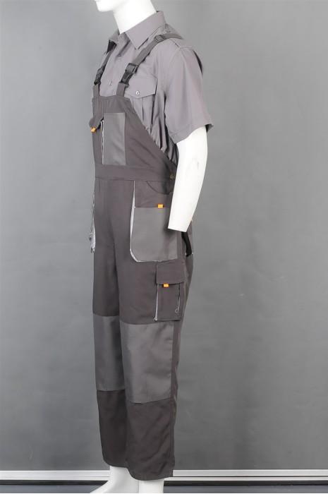 iG-BD-CN-035 制造灰色背带多口袋工业制服 设计POLO短袖内衬工业制服 工业制服供应商