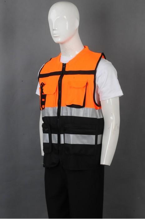 iG-BD-CN-074 订制橙色撞黑色拼接色反光带工业制服 设计拉链外套工业制服 工业制服供应商